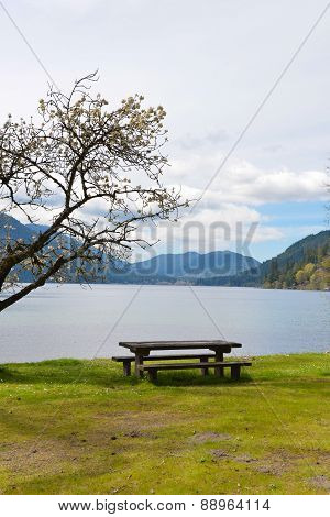 Picnic Table on Lake Crescent, Washington