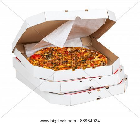 Hot Pizza In Open Box