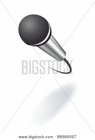 A realistic Image microphone with shadow. Vector illustration for your design.