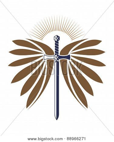 Military design with a sword, wings and rays of the sun for your logo or tattoo.