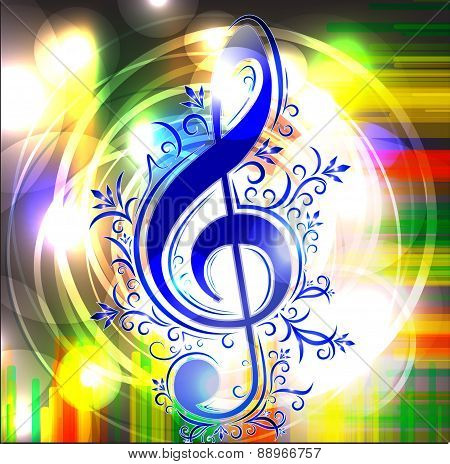Colorful music background with treble clef. Vector illustration for your design.
