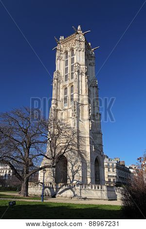 Saint Jacques Tower (tour Saint-jacques) Located On Rivoli Street, Paris