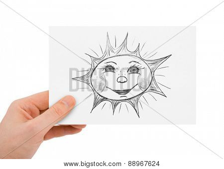 Hand with drawing sun isolated on white background