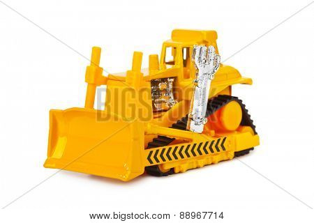 Toy bulldozer isolated on white background
