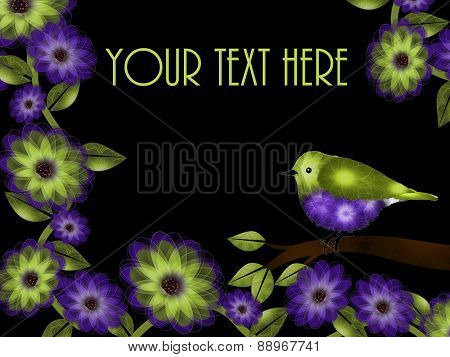 Green and Purple Bird and Flowers Background