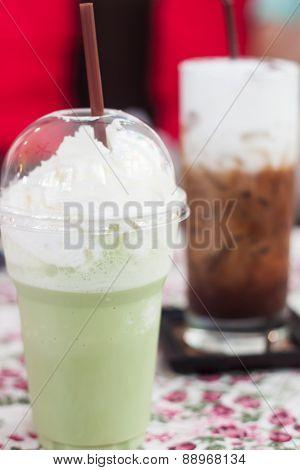 Macha Green Tea With Whipped Cream