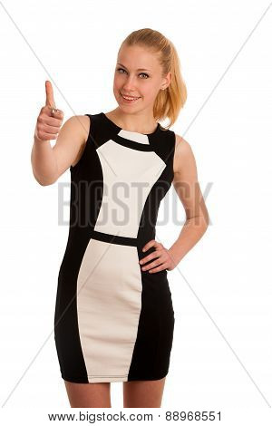 Portrait Ov A Beautiful Young Blond Caucasian Business Woman In Black And White Garment Isolated Ove