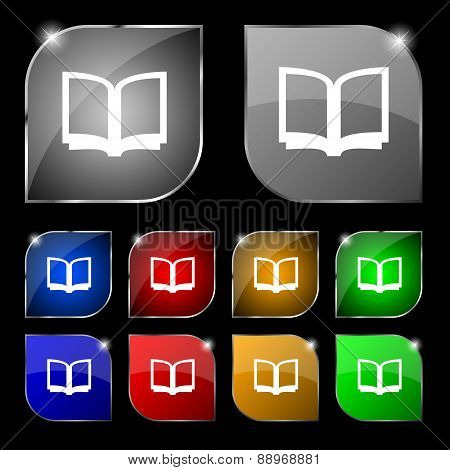 Open Book Icon Sign. Set Of Ten Colorful Buttons With Glare. Vector