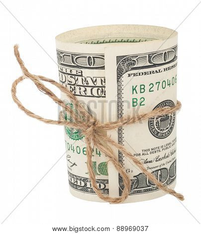 Banknote hundred dollars, tied with a rope with a bow
