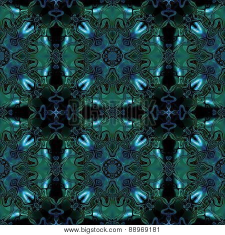 Abstract Seamless Blue Green Metallic Viking Or Celtic Like Pattern