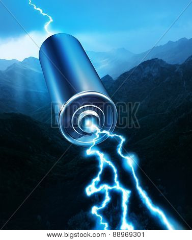 Energy Power Battery Blue Sparks