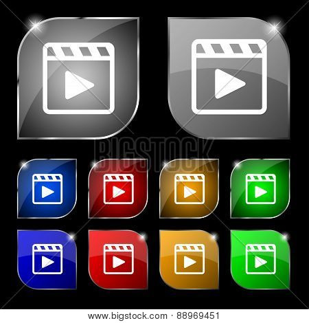 Play Video Icon Sign. Set Of Ten Colorful Buttons With Glare. Vector