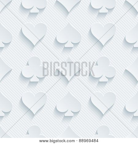 Light perforated paper with cut out effect. 3d card symbol seamless background. Vector EPS10.