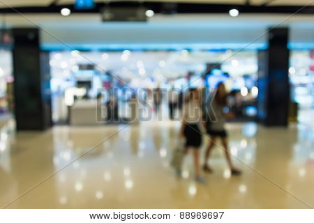 Blur Background Photograph Of Pretty Girl In The Department Store Building