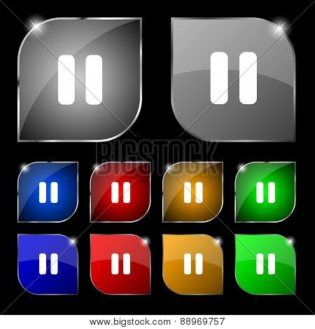 Pause Icon Sign. Set Of Ten Colorful Buttons With Glare. Vector