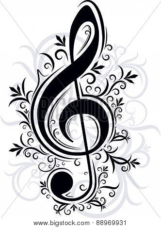 Treble clef with decorative branches and shadow. Vector illustration for your design.