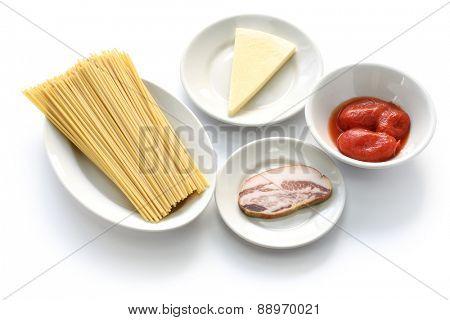 italian pasta amatriciana ingredients bucatini, tomato, pecorino romano and guanciale