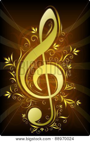 Treble clef with decorative branches of gold color on a dark background. Vector illustration for you