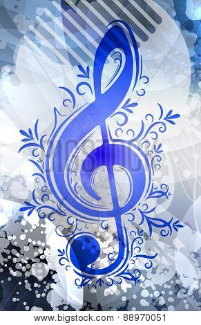 Abstract musical background with treble clef. Vector illustration for your design.