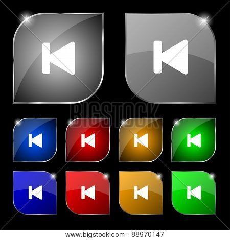 Fast Backward Icon Sign. Set Of Ten Colorful Buttons With Glare. Vector