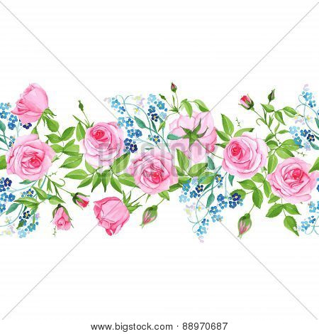 Forget-me-nots And Roses Seamless Vector Horizontal Banner