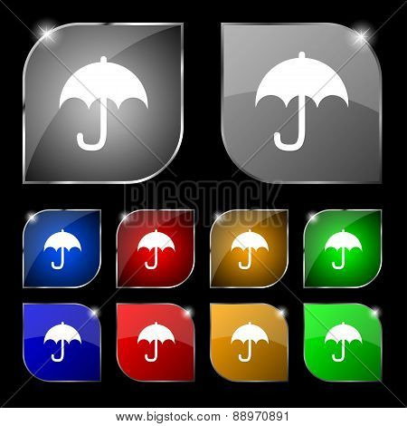 Umbrella Icon Sign. Set Of Ten Colorful Buttons With Glare. Vector