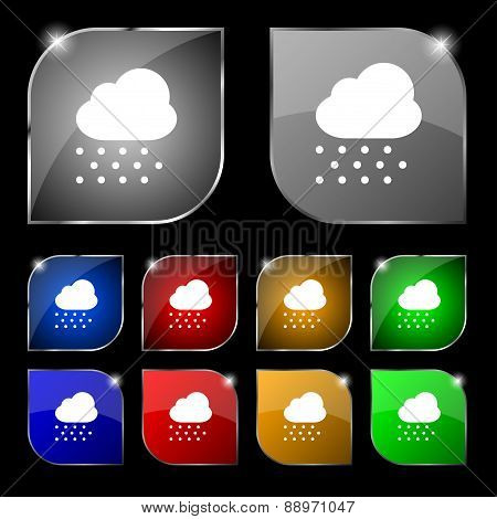 Snowing Icon Sign. Set Of Ten Colorful Buttons With Glare. Vector