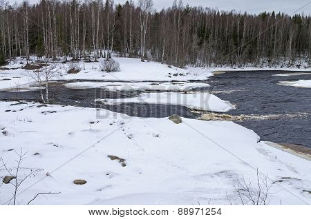 Rapids In Winter.  Karelia, Russia.