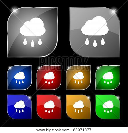 Weather Rain Icon Sign. Set Of Ten Colorful Buttons With Glare. Vector