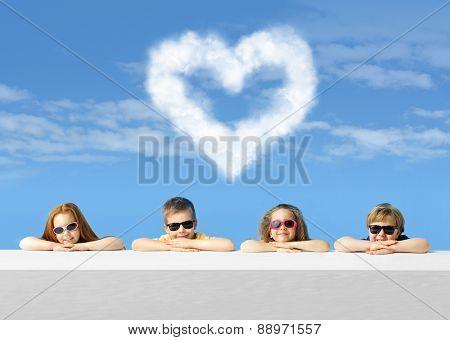 Happy kids wearing sunglasses