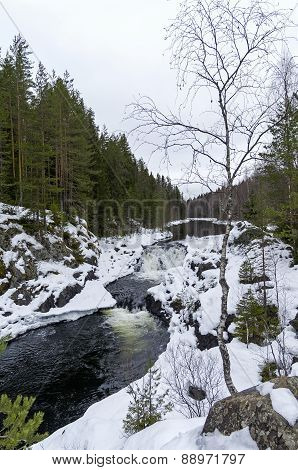The Upper Level Of The Waterfall Kivach, Karelia, Russia.