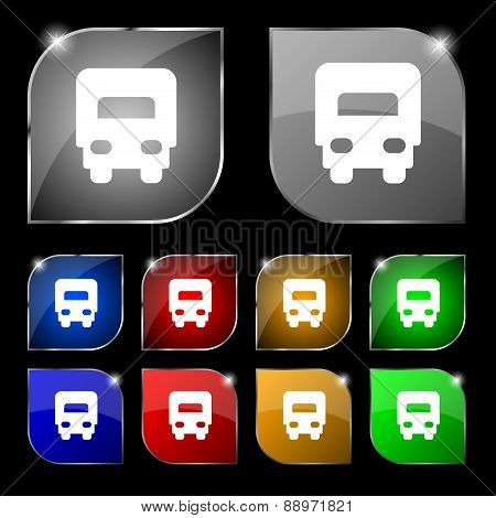 Delivery Truck Icon Sign. Set Of Ten Colorful Buttons With Glare. Vector