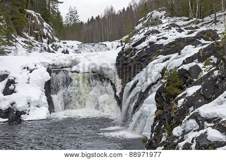 Waterfall Kivach In Winter. Karelia, Russia.