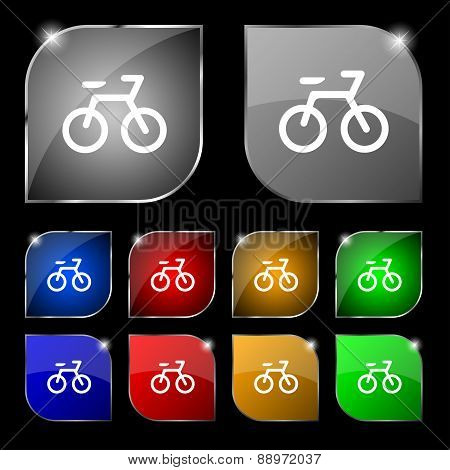 Bicycle Icon Sign. Set Of Ten Colorful Buttons With Glare. Vector