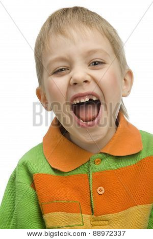 Cute Six-years Boy Shouting Loudly