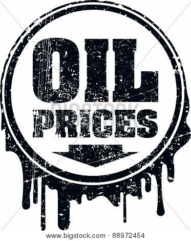 Oil prices grunge design with down arrow showing a decline oil prices. Vector illustration.