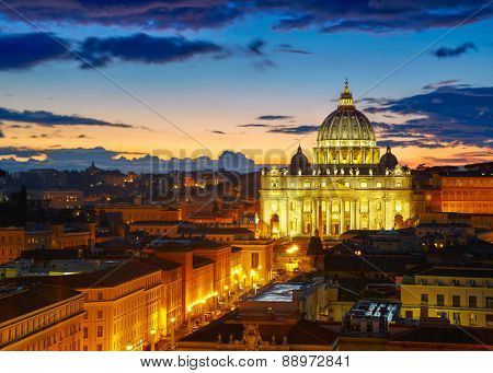 Rome, Italy. St. Peter's cathedral in sunset lights