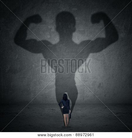 Businesswoman And Strong Shadow 1