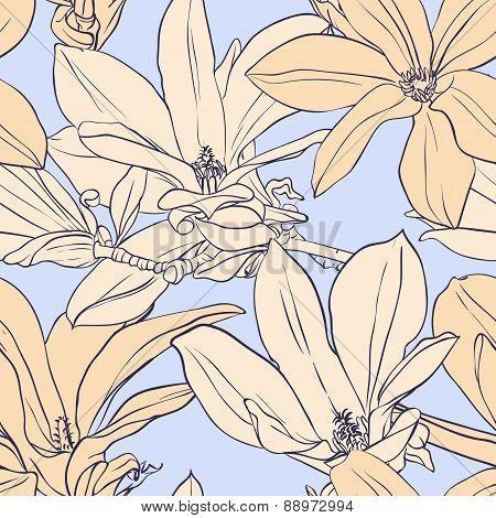 Vintage magnolia seamless pattern