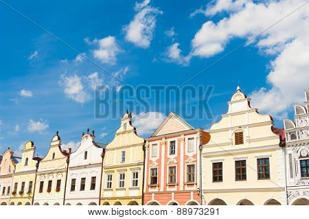 Vivid Renaissance houses in Telc, Czech Republic - UNESCO world heritage site