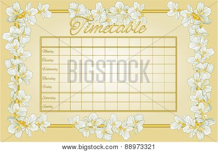 Golden Timetable With Jasmine Vector