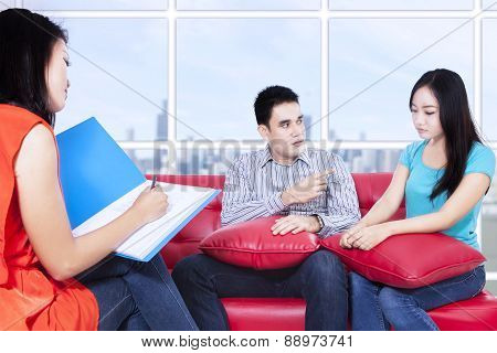 Couple Is Consulting To Psychologist