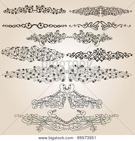 Calligraphic Flower Bird Patern