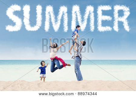 Excited Family On The Tropical Shore
