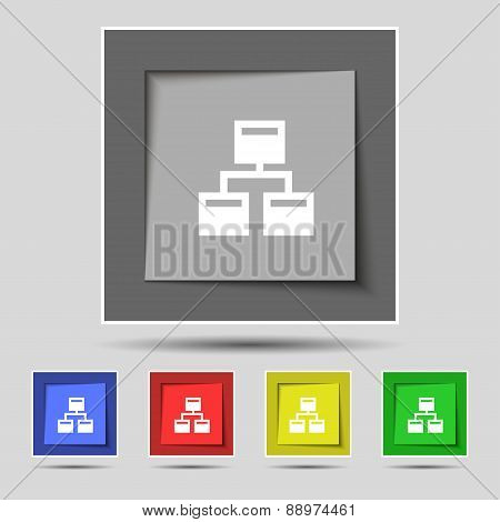 Local Network Icon Sign On The Original Five Colored Buttons. Vector