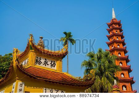 Buddhist Temple In Vietnam In The Capital Of Vietnam In Hanoi