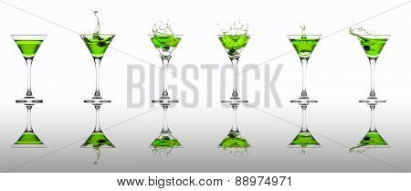 Green cocktail splash collection isolated on a white background
