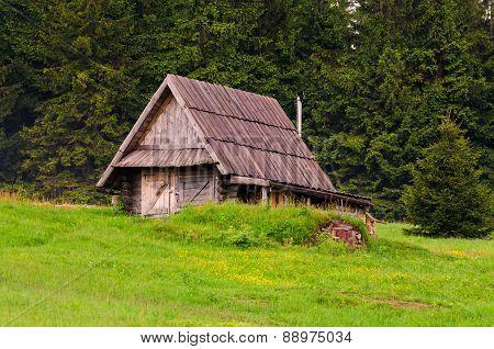 Wooden hut.