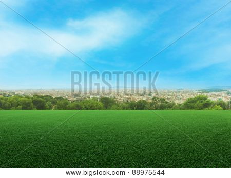 Panoramic view of a meadow against cityscape