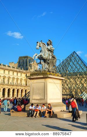 Louis Xiv Statue At The Louvre Museum In Paris, France